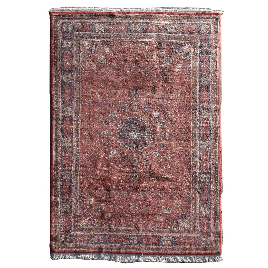 Indian Carpet, Red Ground, Blue Border, Dense