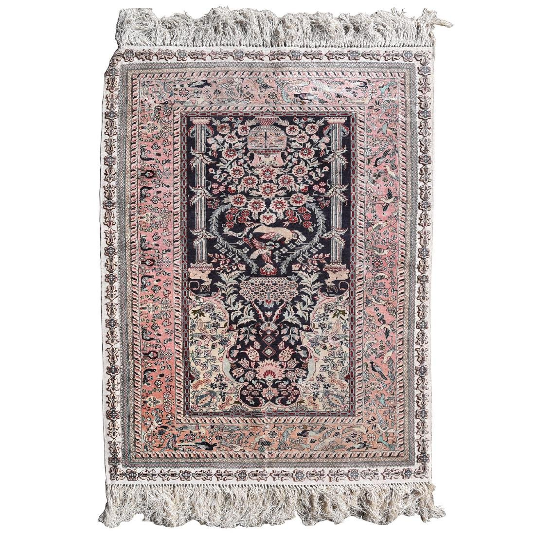 Indian Silk Rug, with Beige Ground and Bird and Floral
