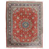 Indo-Kashan Scarlet and Blue Ground Persian Carpet