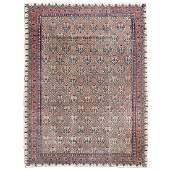 Kerman Rug, Pink and Green Flowers, with Pink and Blue