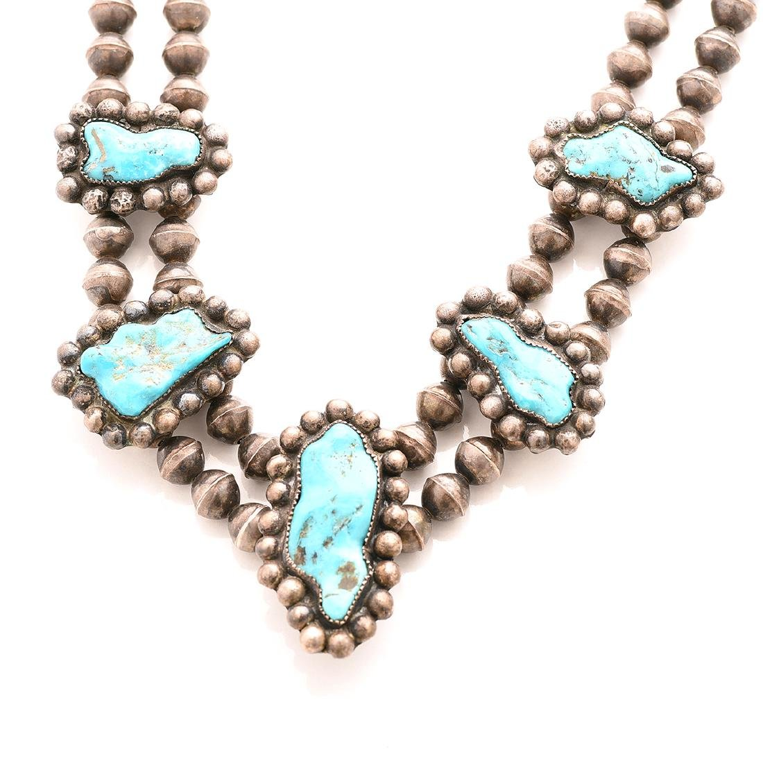 Native American Turquoise, Silver Necklace and Ring. - 2