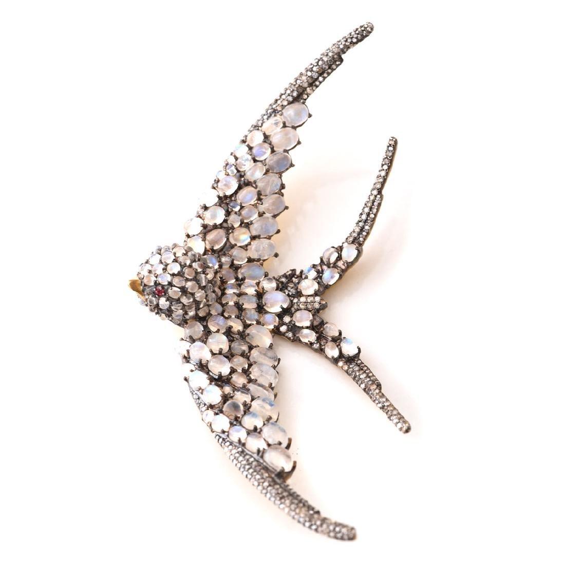 Moonstone, Diamond, Spinel, Silver-Gilt Swallow Pendant