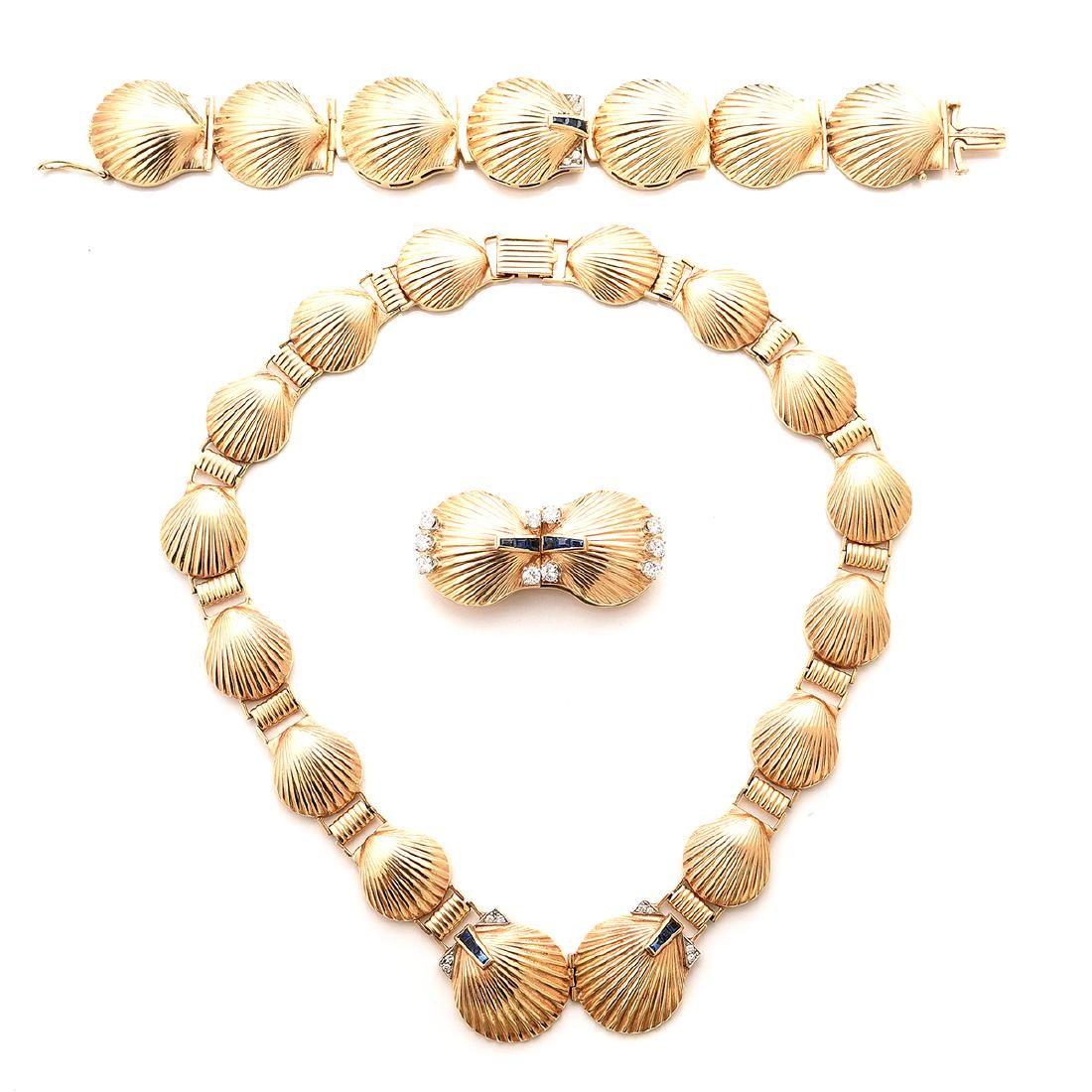 Retro Scholtz Diamond, Sapphire, 14k Yellow Gold
