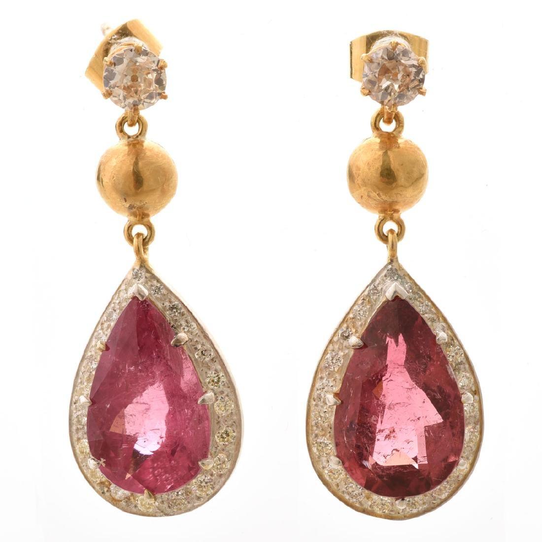 Pair of Tourmaline, Diamond, Silver-Gilt Earrings.