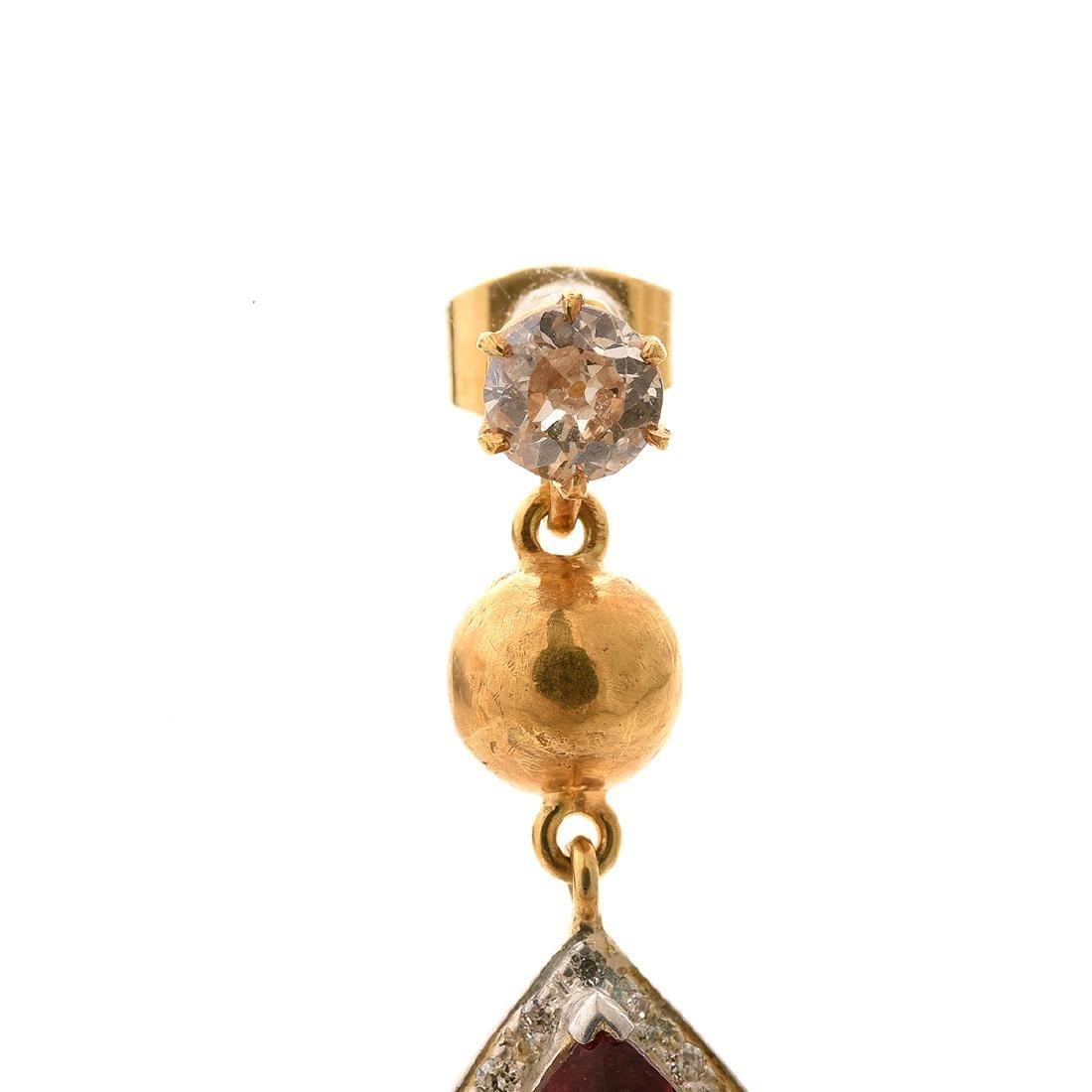 Pair of Tourmaline, Diamond, Silver-Gilt Earrings. - 2