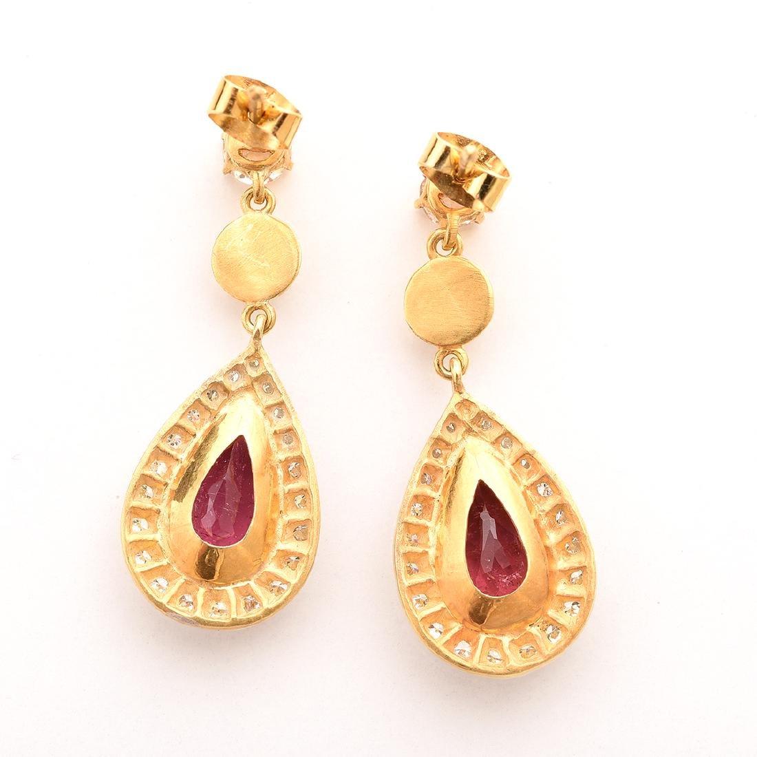 Pair of Tourmaline, Diamond, Silver-Gilt Earrings. - 4