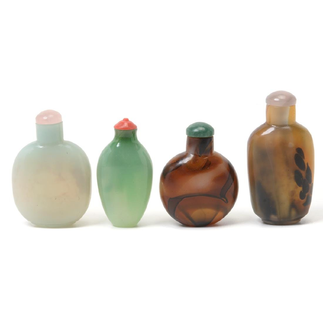 Four Glass Snuff Bottles, 19th Century