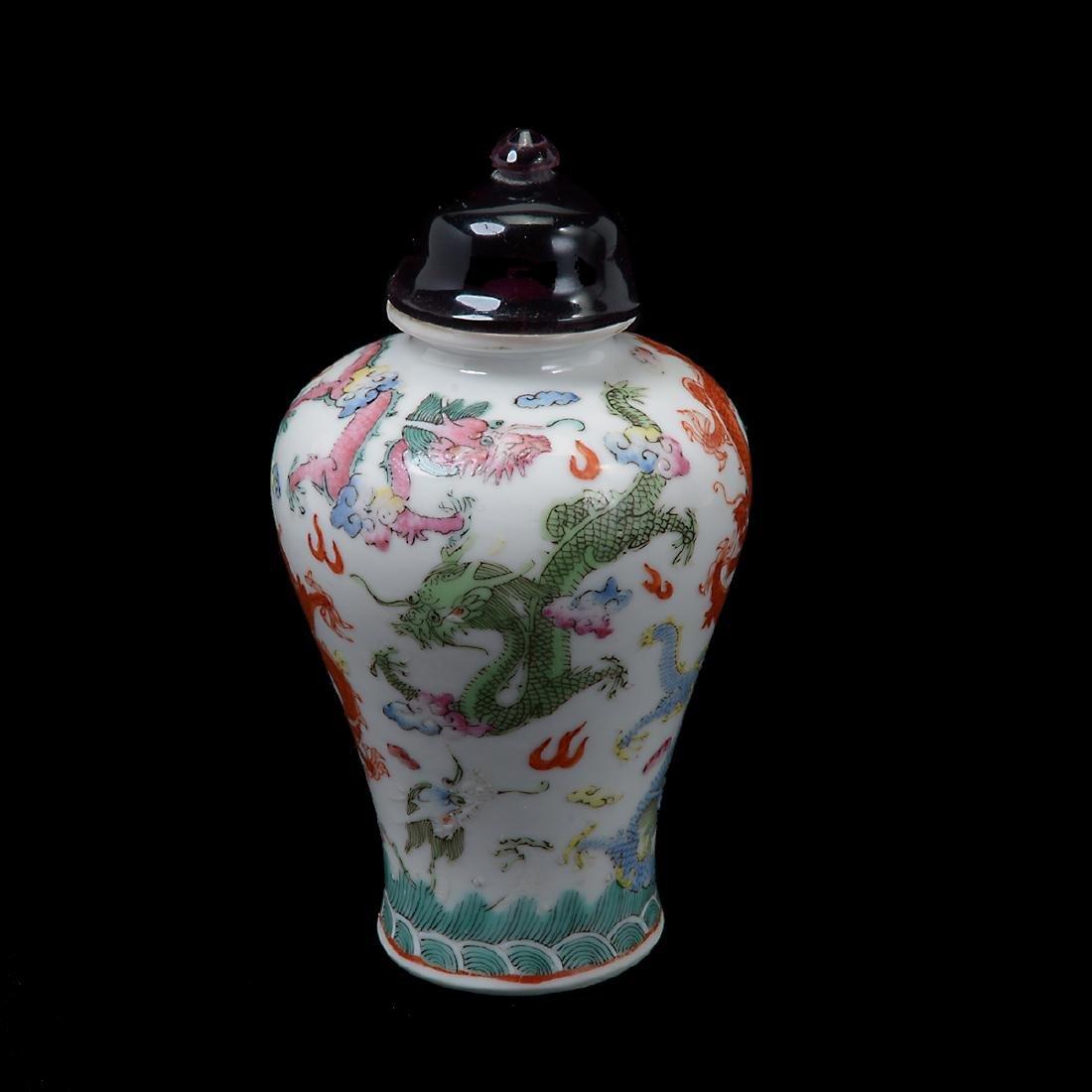 Famille Rose 'Dragon' Snuff Bottle, 19th Century - 2