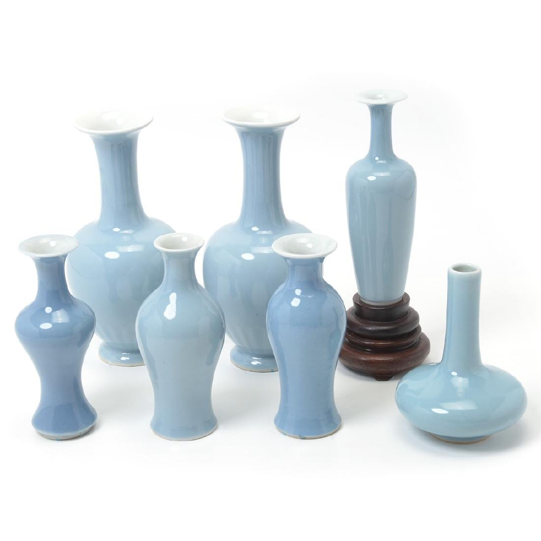 Seven Clair-de-Lune Glazed Vases, 19th Century