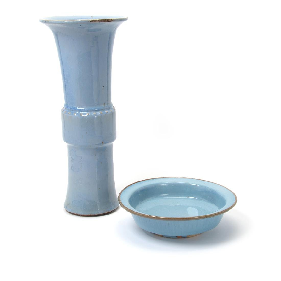 Two Sky Blue Glazed Stoneware Vessels, 19th Century