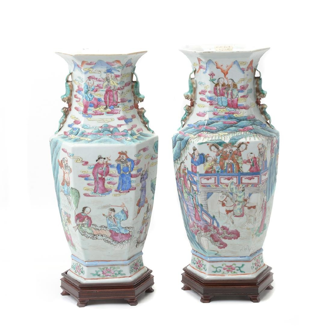 Pair of Famile Rose Hexagonal Figural Vases