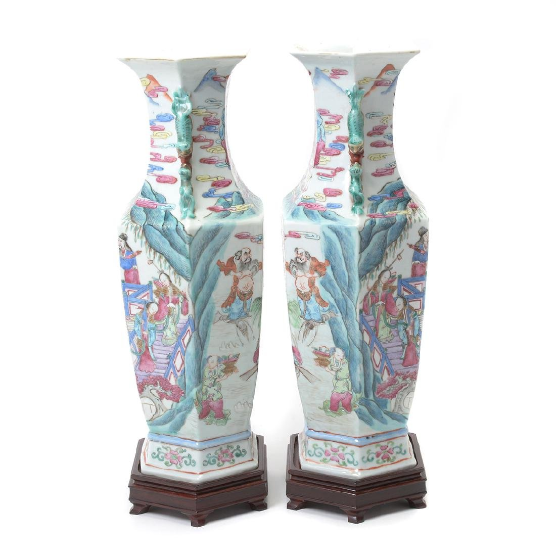 Pair of Famile Rose Hexagonal Figural Vases - 2