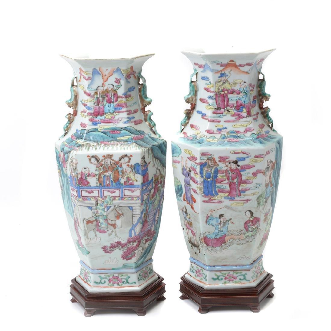 Pair of Famile Rose Hexagonal Figural Vases - 3