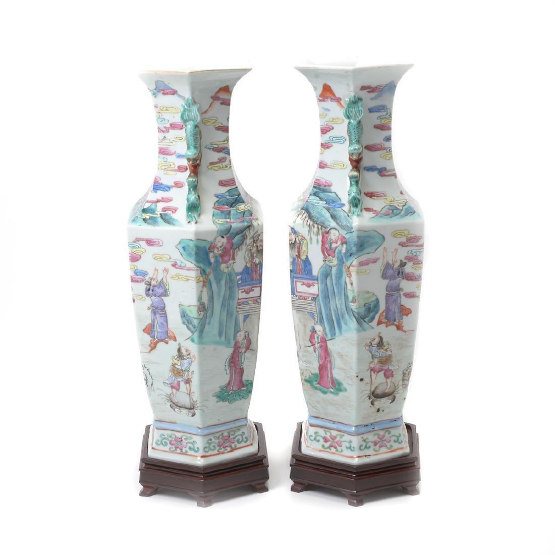 Pair of Famile Rose Hexagonal Figural Vases - 4