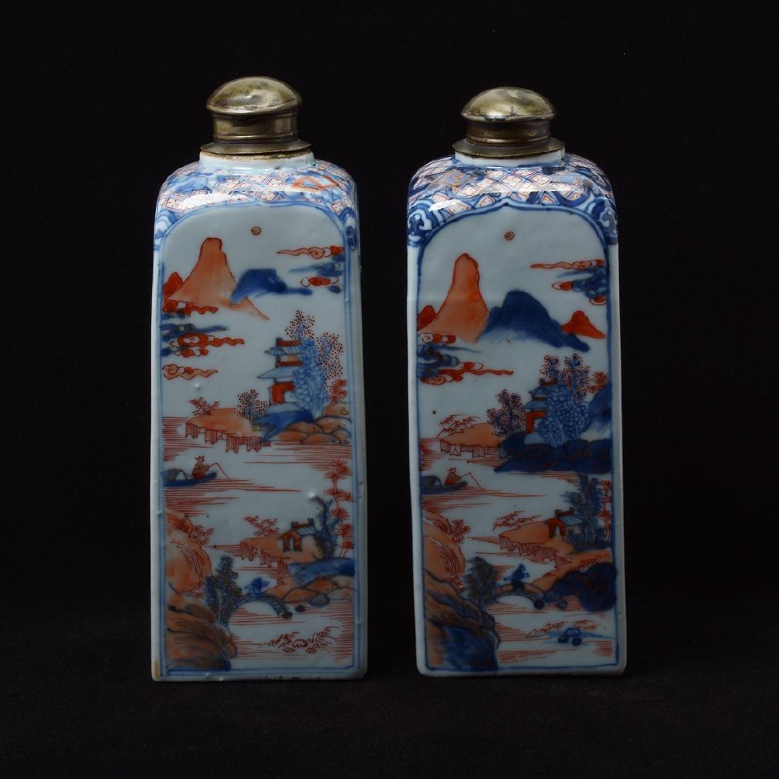 Pair of Chinese Imari Square Bottles, Kangxi Period