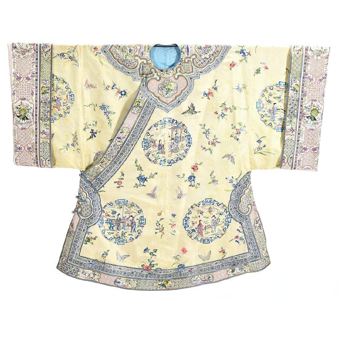 Embroidered Silk Yellow Ground Lady's Robe