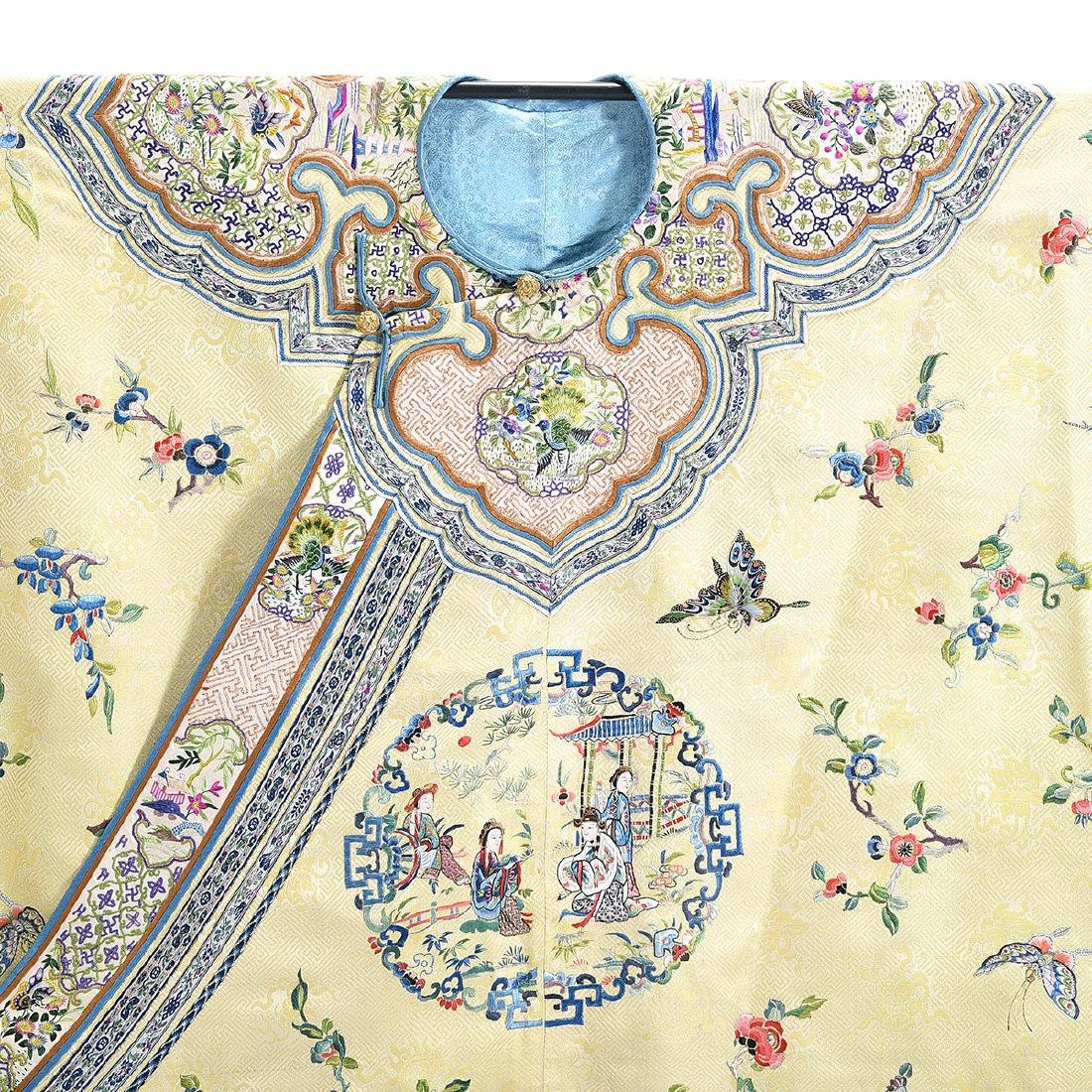 Embroidered Silk Yellow Ground Lady's Robe - 2