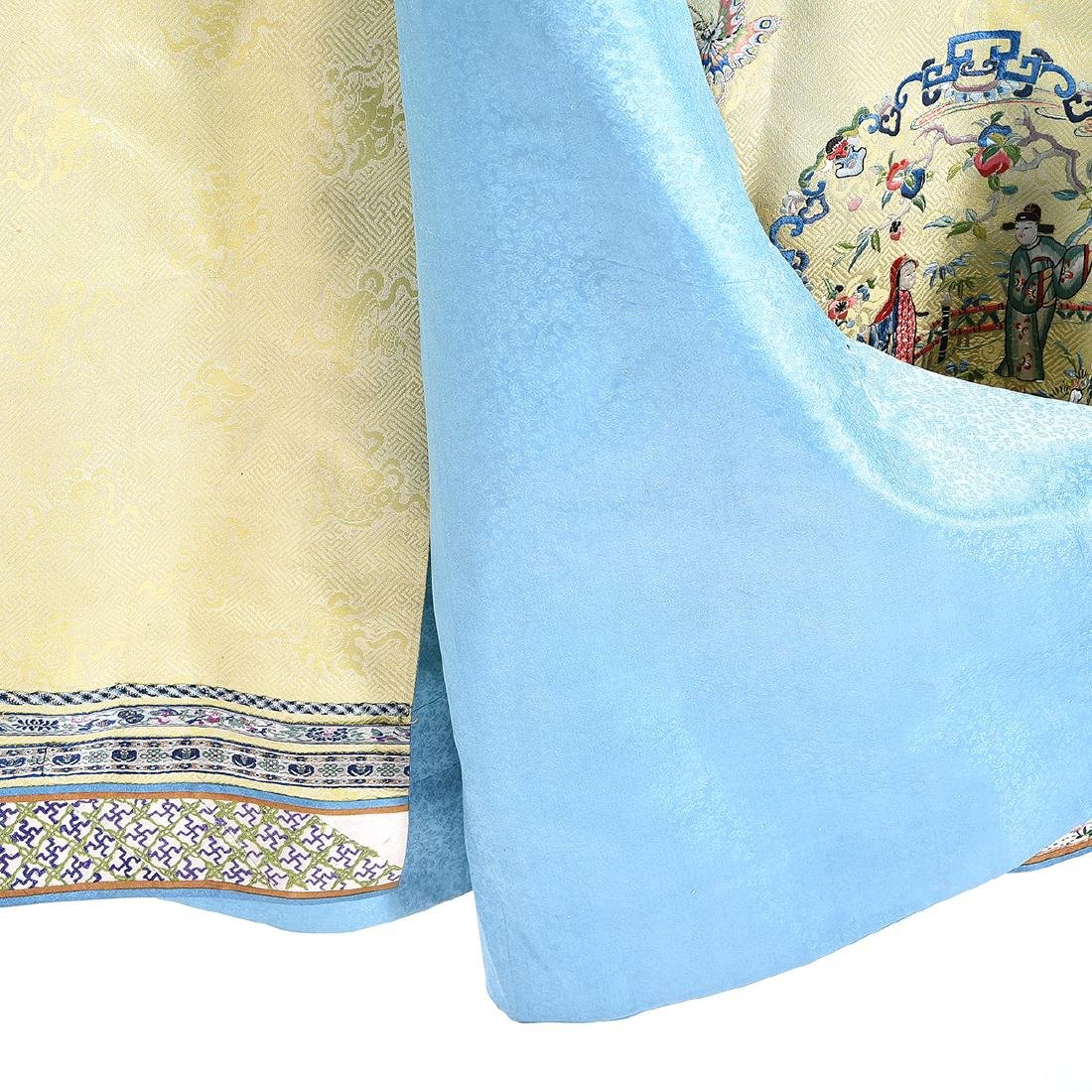 Embroidered Silk Yellow Ground Lady's Robe - 5