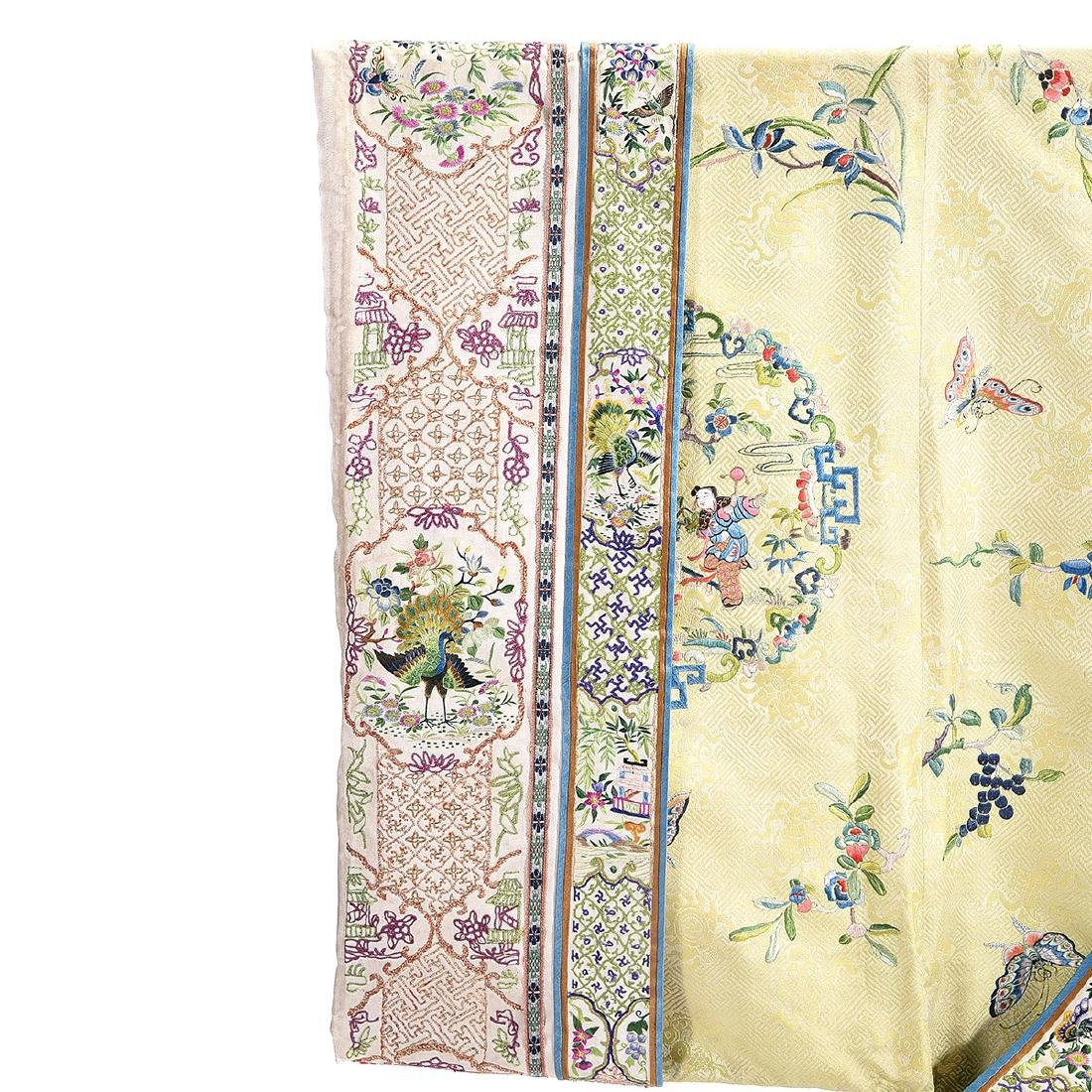 Embroidered Silk Yellow Ground Lady's Robe - 6