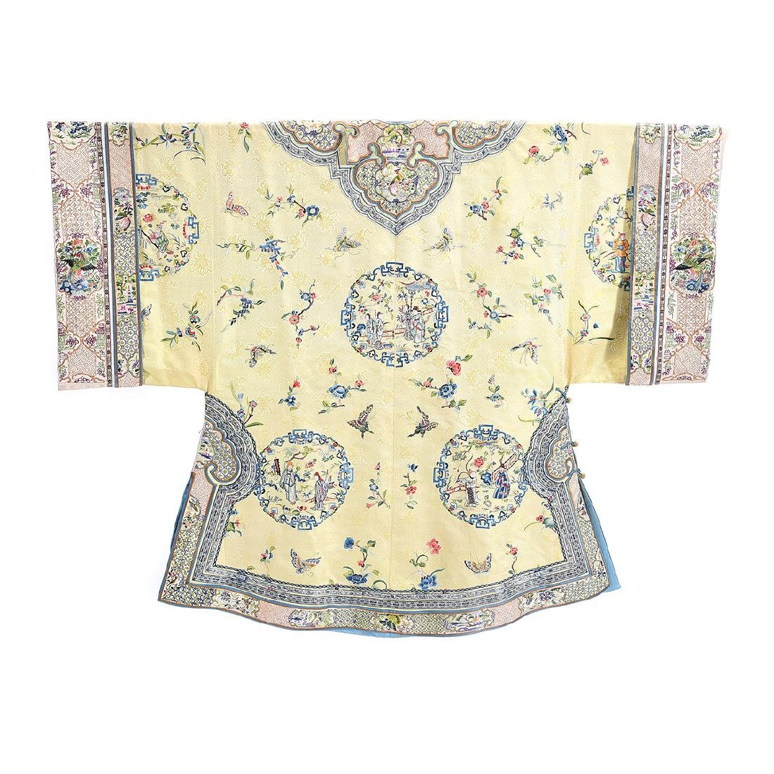 Embroidered Silk Yellow Ground Lady's Robe - 7