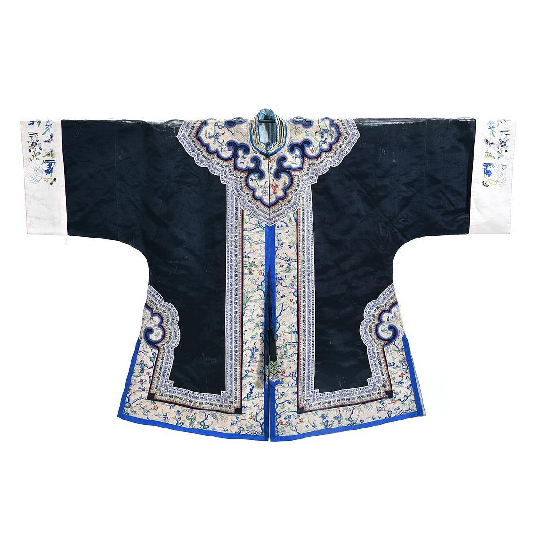 Embroidered Silk Black Ground Lady's Robe