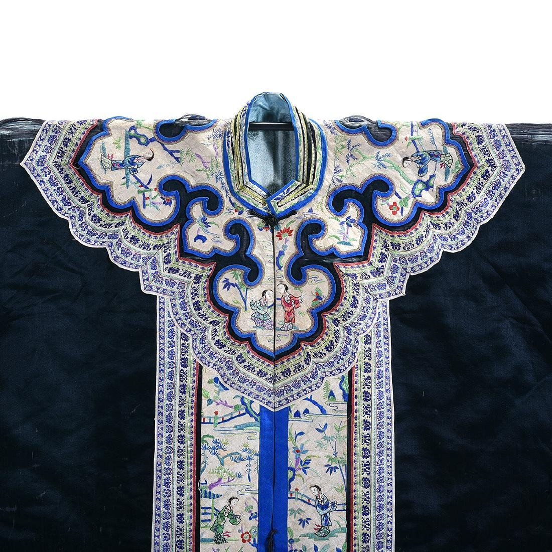 Embroidered Silk Black Ground Lady's Robe - 2