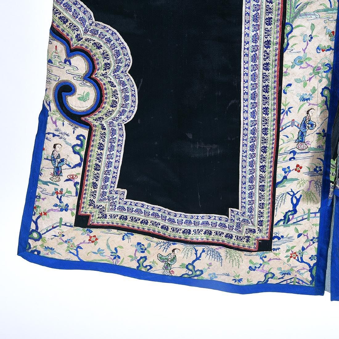 Embroidered Silk Black Ground Lady's Robe - 3
