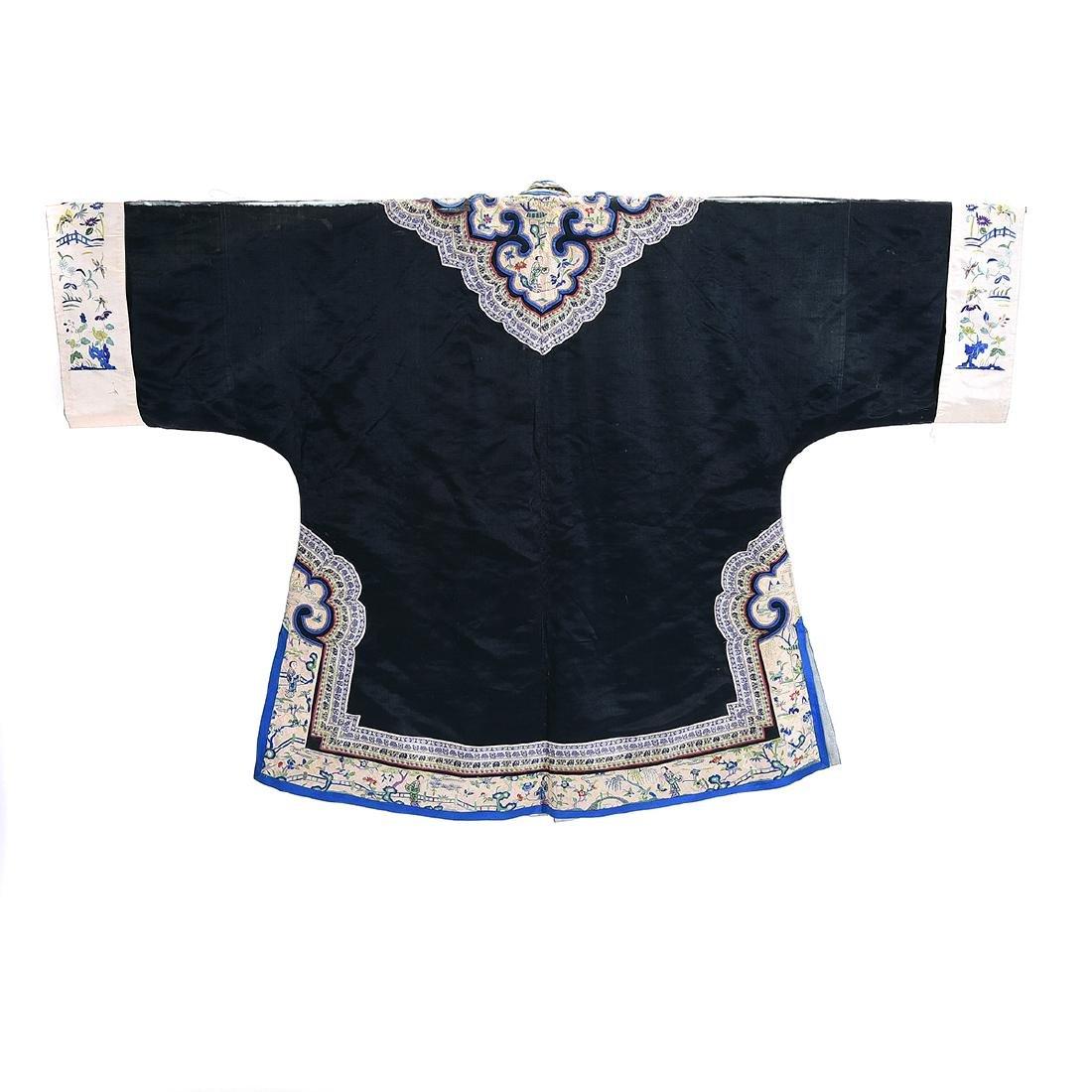 Embroidered Silk Black Ground Lady's Robe - 5