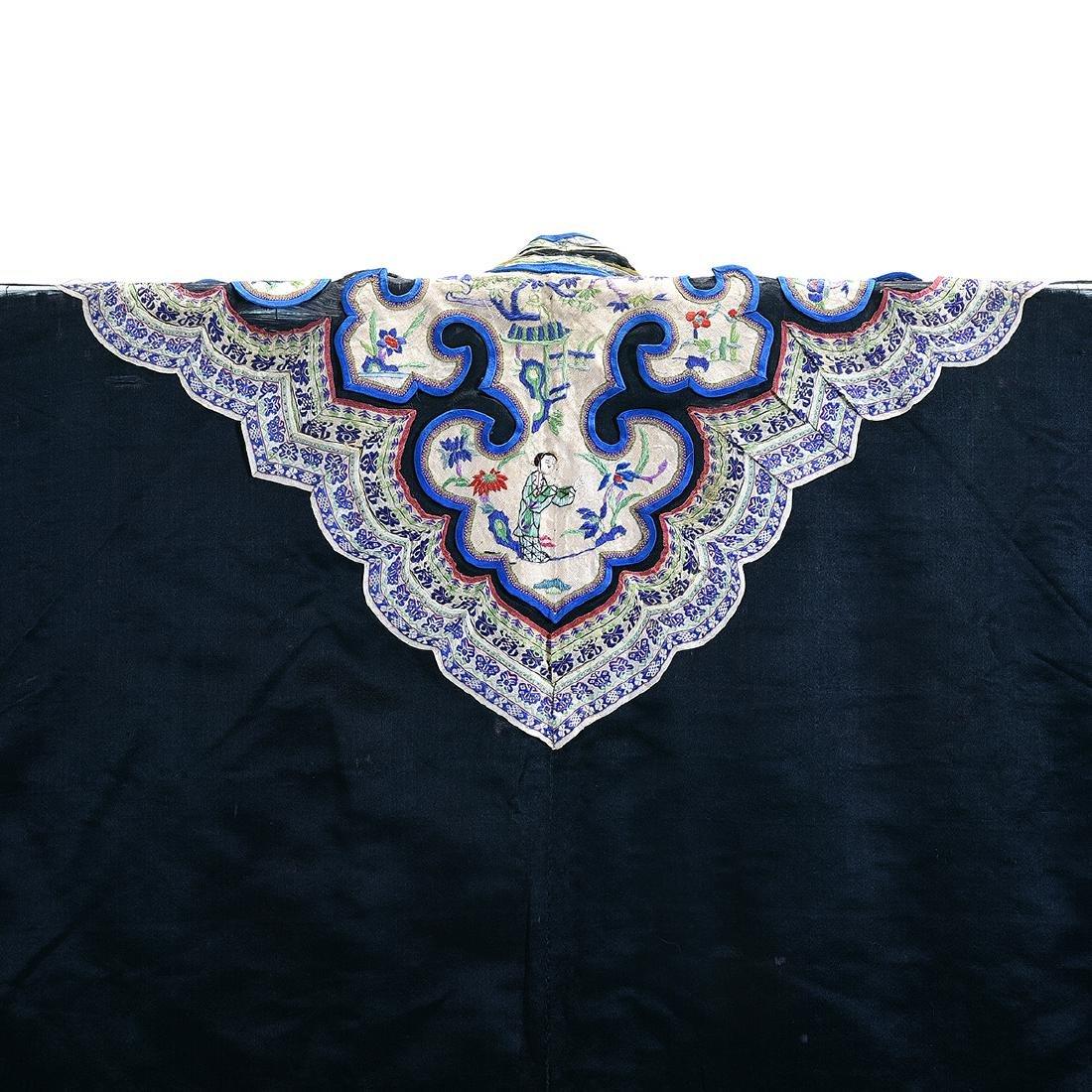 Embroidered Silk Black Ground Lady's Robe - 6