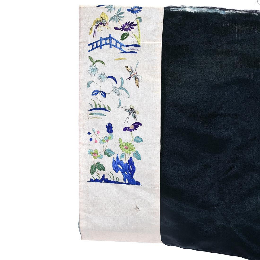 Embroidered Silk Black Ground Lady's Robe - 7