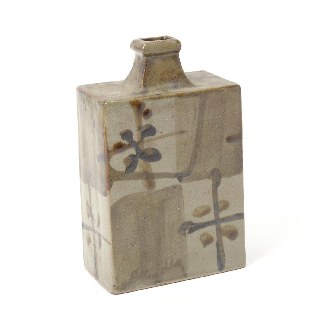 Japanese Glazed Ceramic Square Bottle Vase