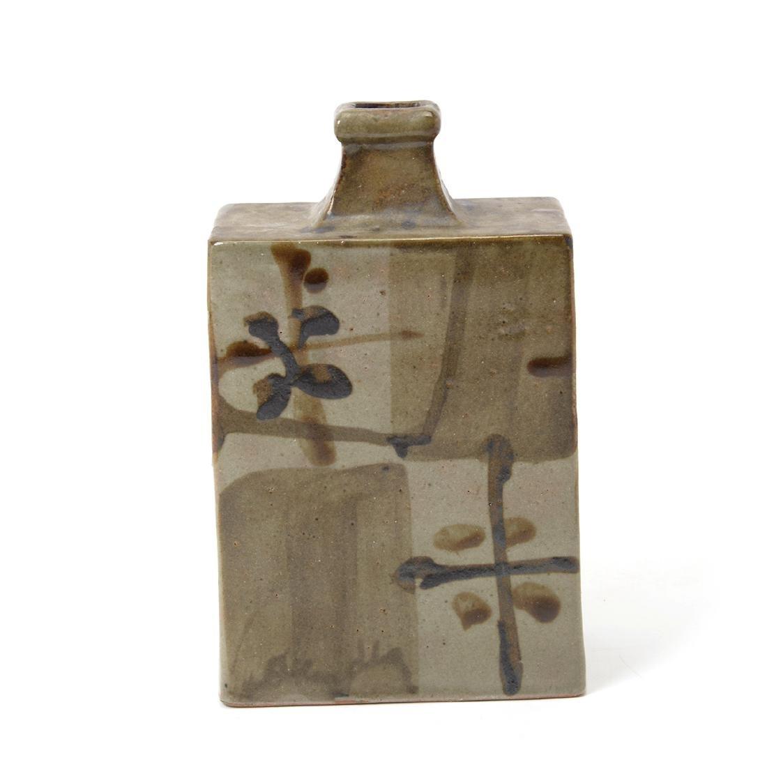 Japanese Glazed Ceramic Square Bottle Vase - 2