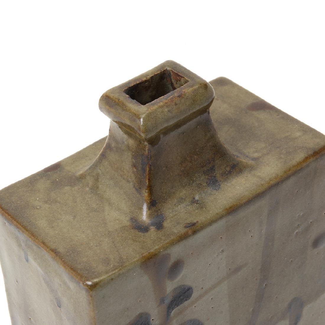 Japanese Glazed Ceramic Square Bottle Vase - 6