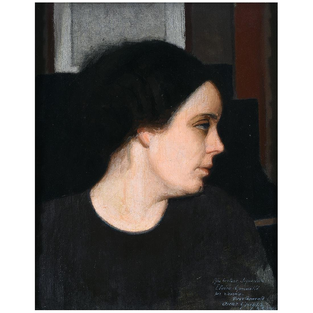 "Oscar Ghiglia ""Portrait of Ms. Gonnetti"" oil on canvas"