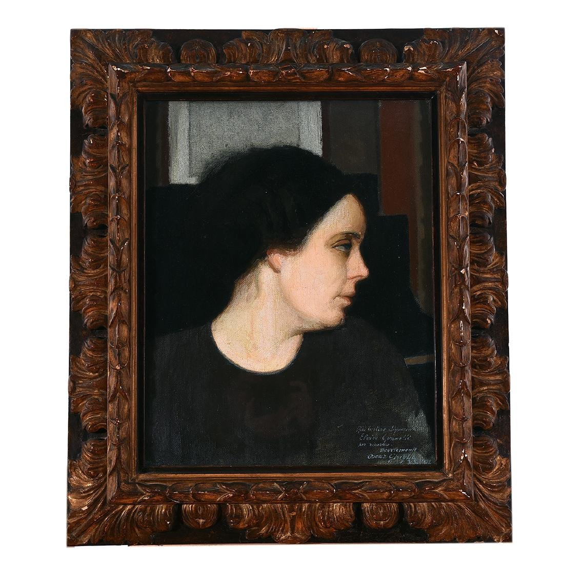 "Oscar Ghiglia ""Portrait of Ms. Gonnetti"" oil on canvas - 4"