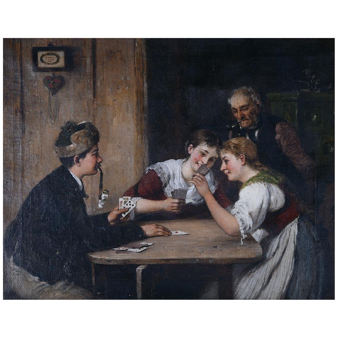"Hugo Oehmichen ""Winning Hand"" oil on canvas"