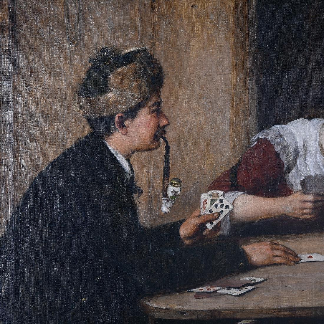 "Hugo Oehmichen ""Winning Hand"" oil on canvas - 3"