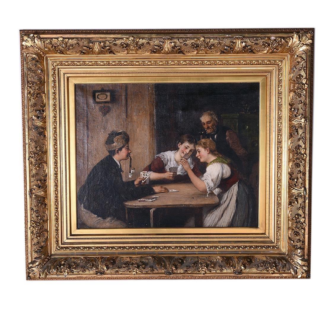 "Hugo Oehmichen ""Winning Hand"" oil on canvas - 4"