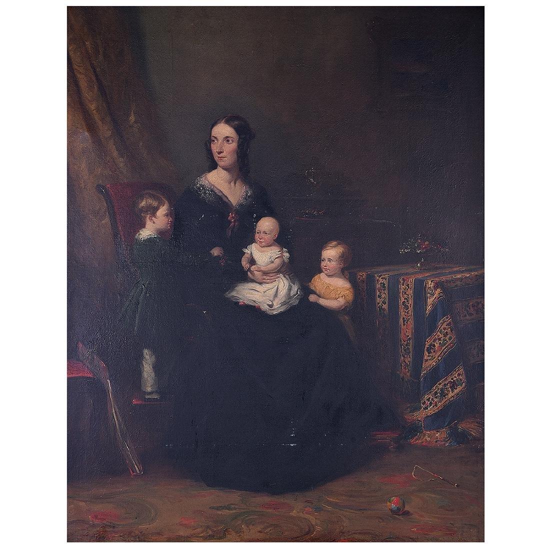 """European School """"Portrait of Mother with her Children"""""""