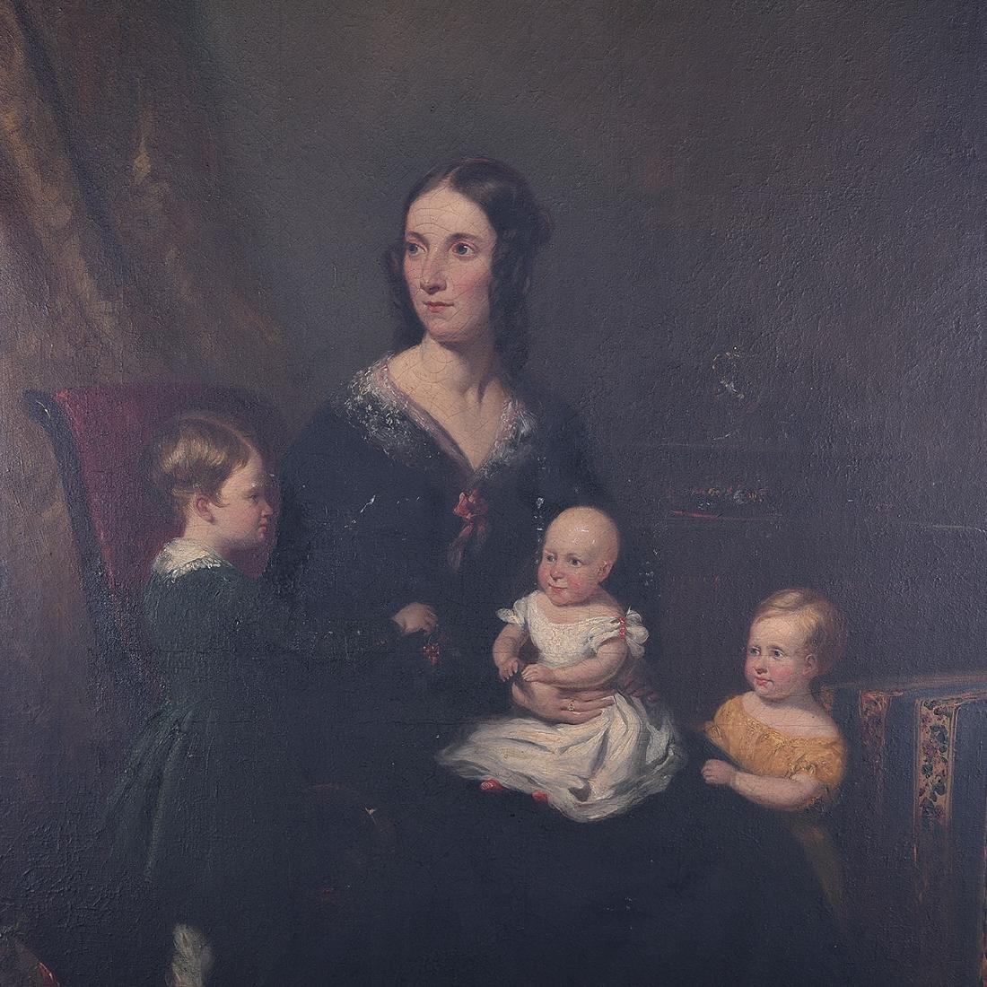 """European School """"Portrait of Mother with her Children"""" - 3"""