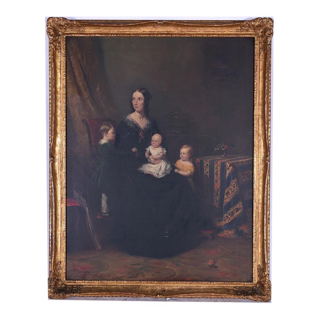"""European School """"Portrait of Mother with her Children"""" - 4"""