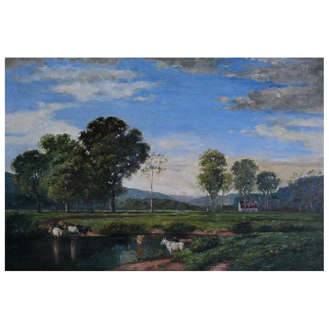 """Continental School """"Cows in the Pond"""" oil on canvas"""