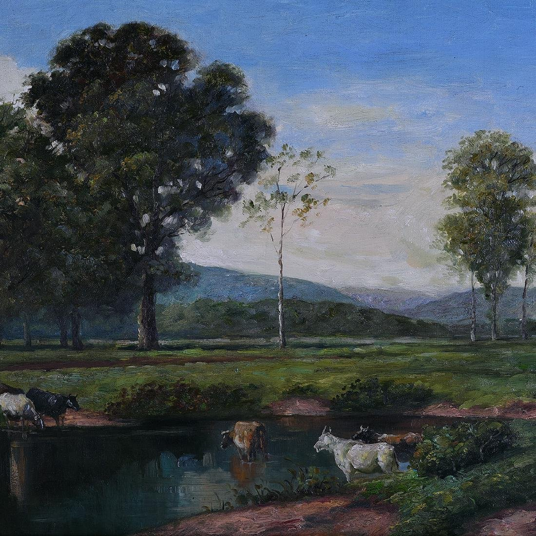 """Continental School """"Cows in the Pond"""" oil on canvas - 3"""