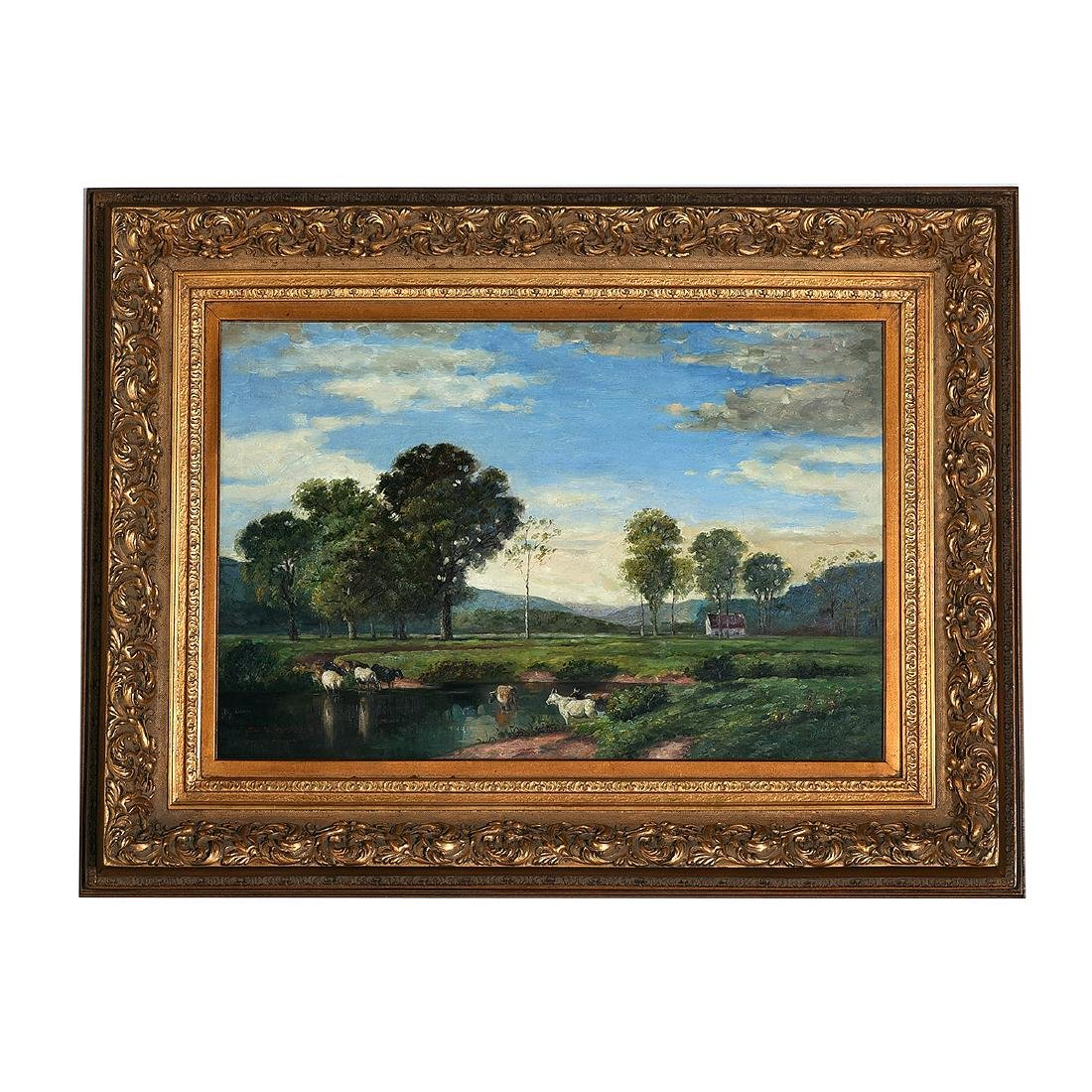 """Continental School """"Cows in the Pond"""" oil on canvas - 4"""