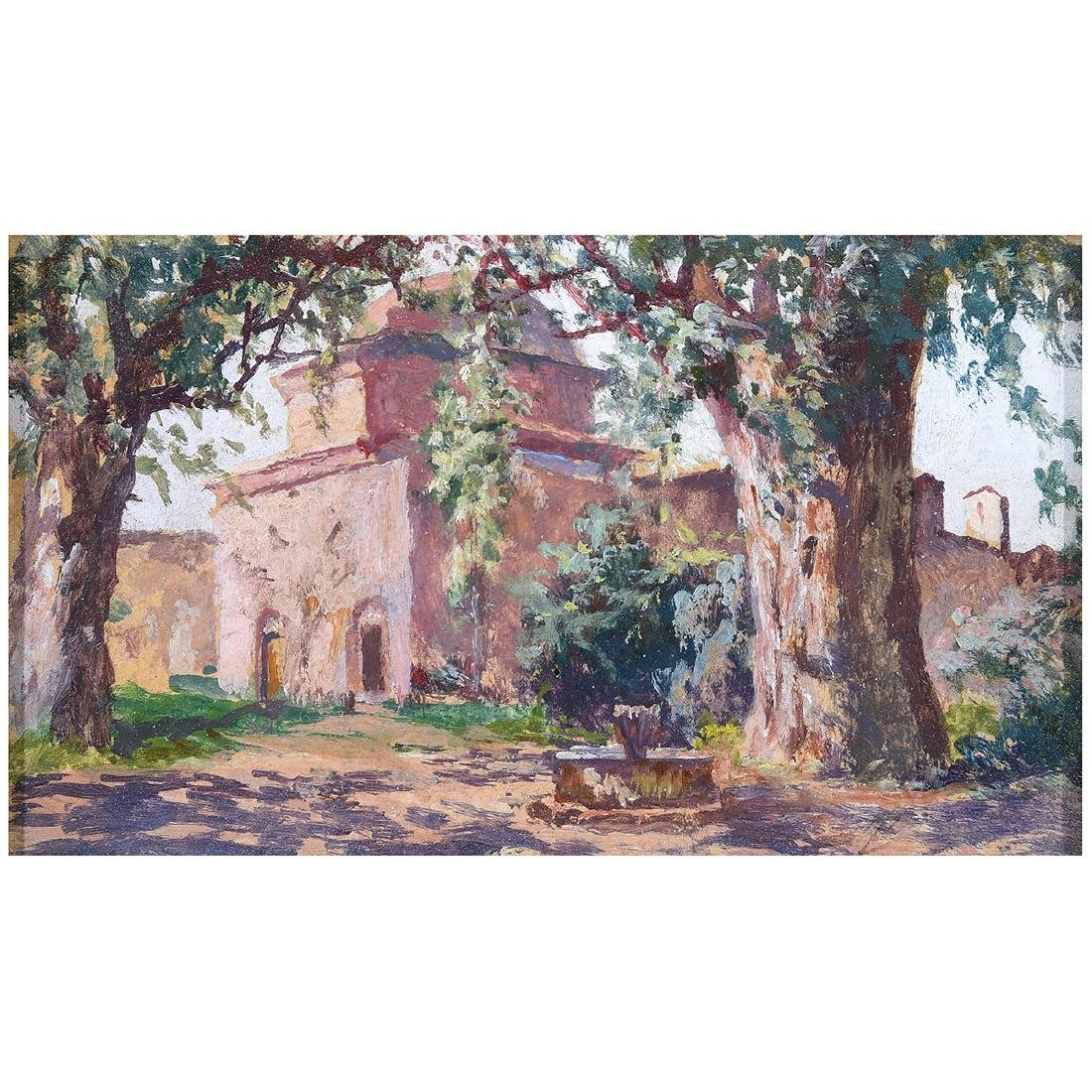 """Attributed to Adolfo Belimbau """"Italian Country House"""""""