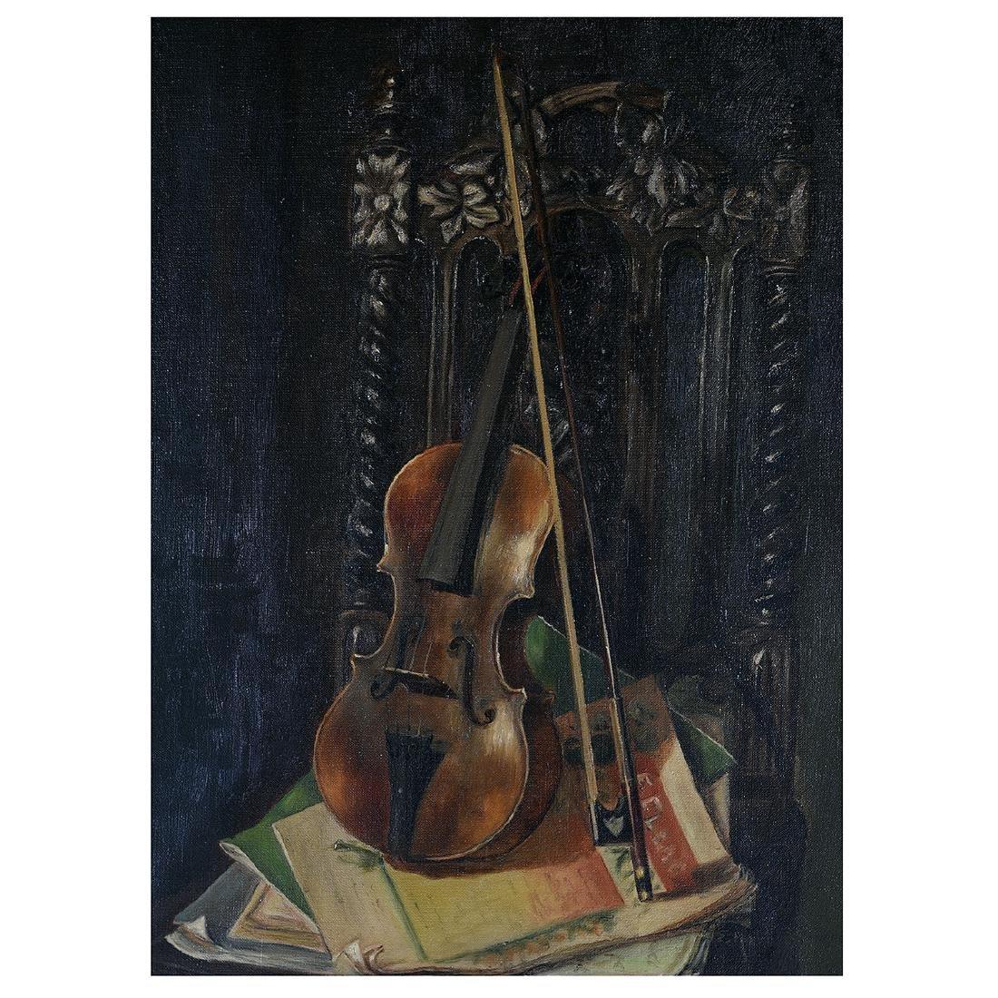 "European School ""Still Life with Violin"" oil on canvas"