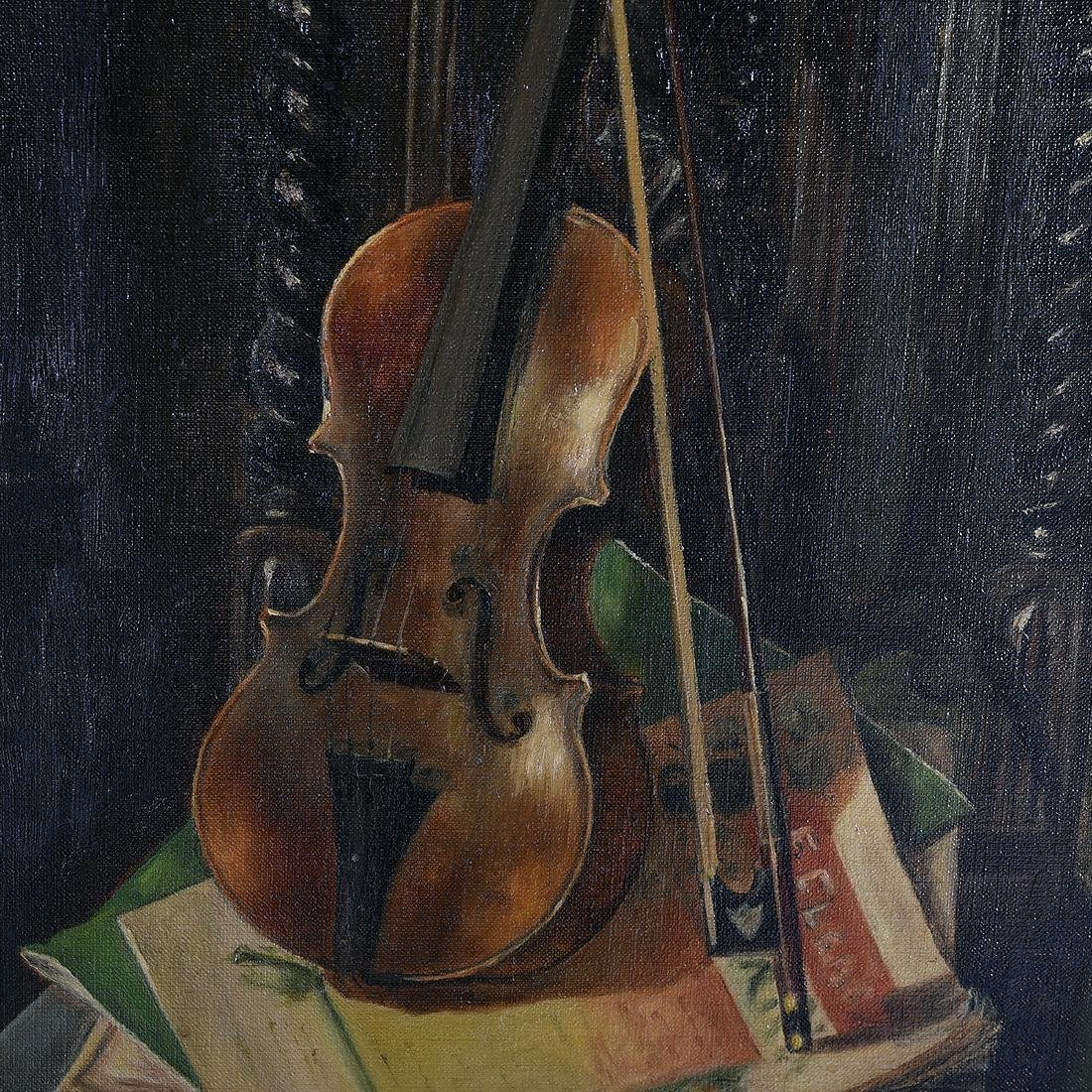 "European School ""Still Life with Violin"" oil on canvas - 3"