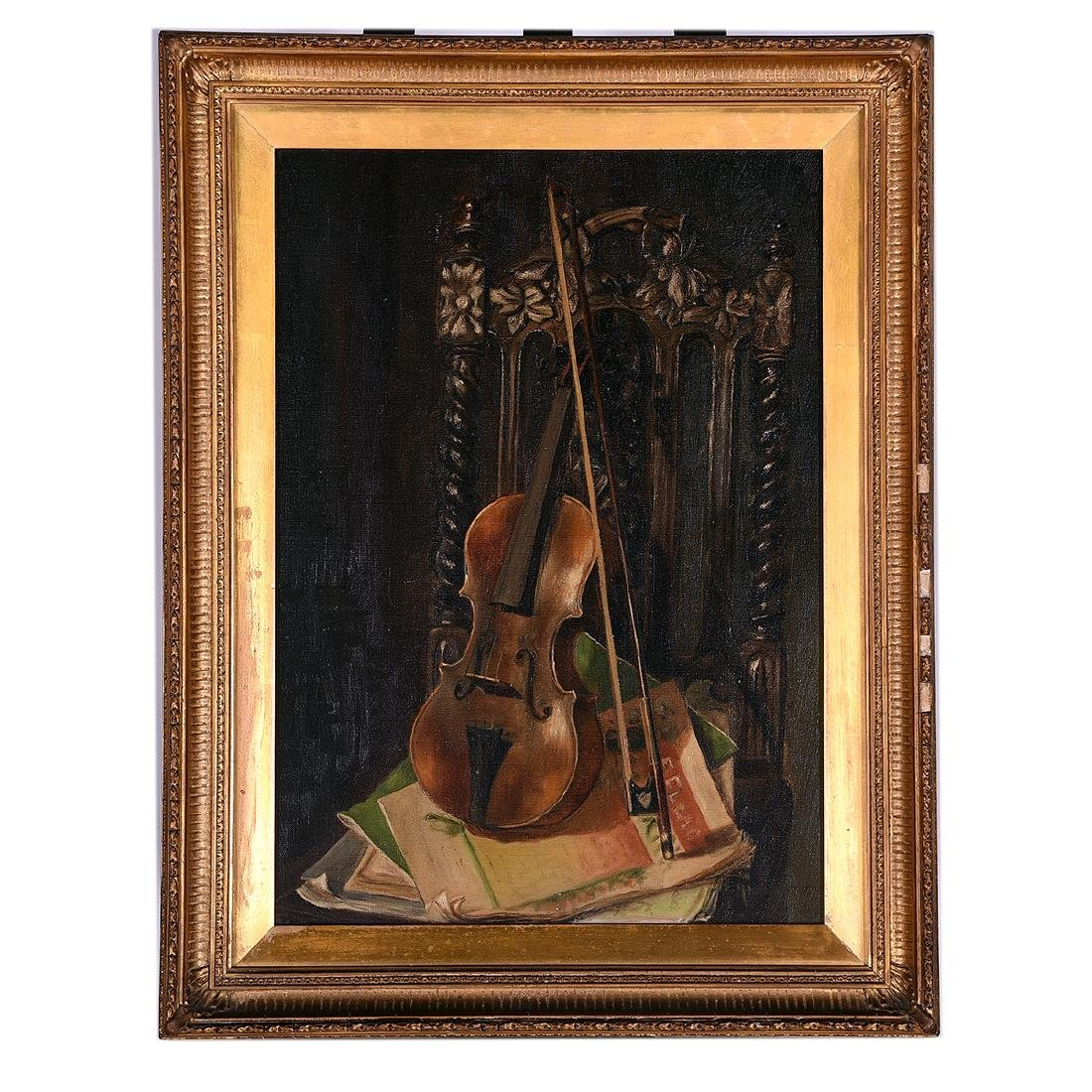 "European School ""Still Life with Violin"" oil on canvas - 4"