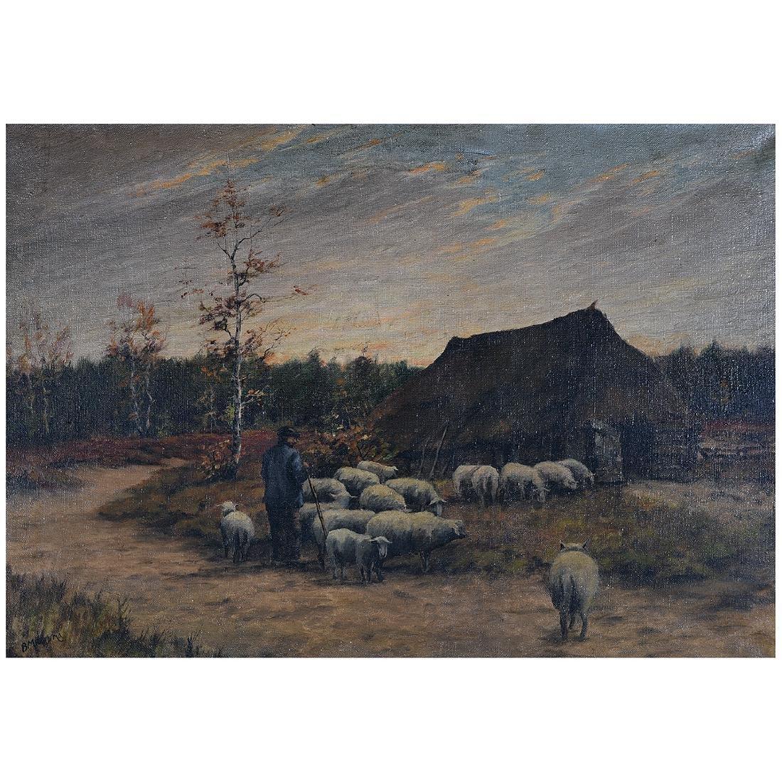 "B. Medema ""Tending the Flock"" oil on canvas"