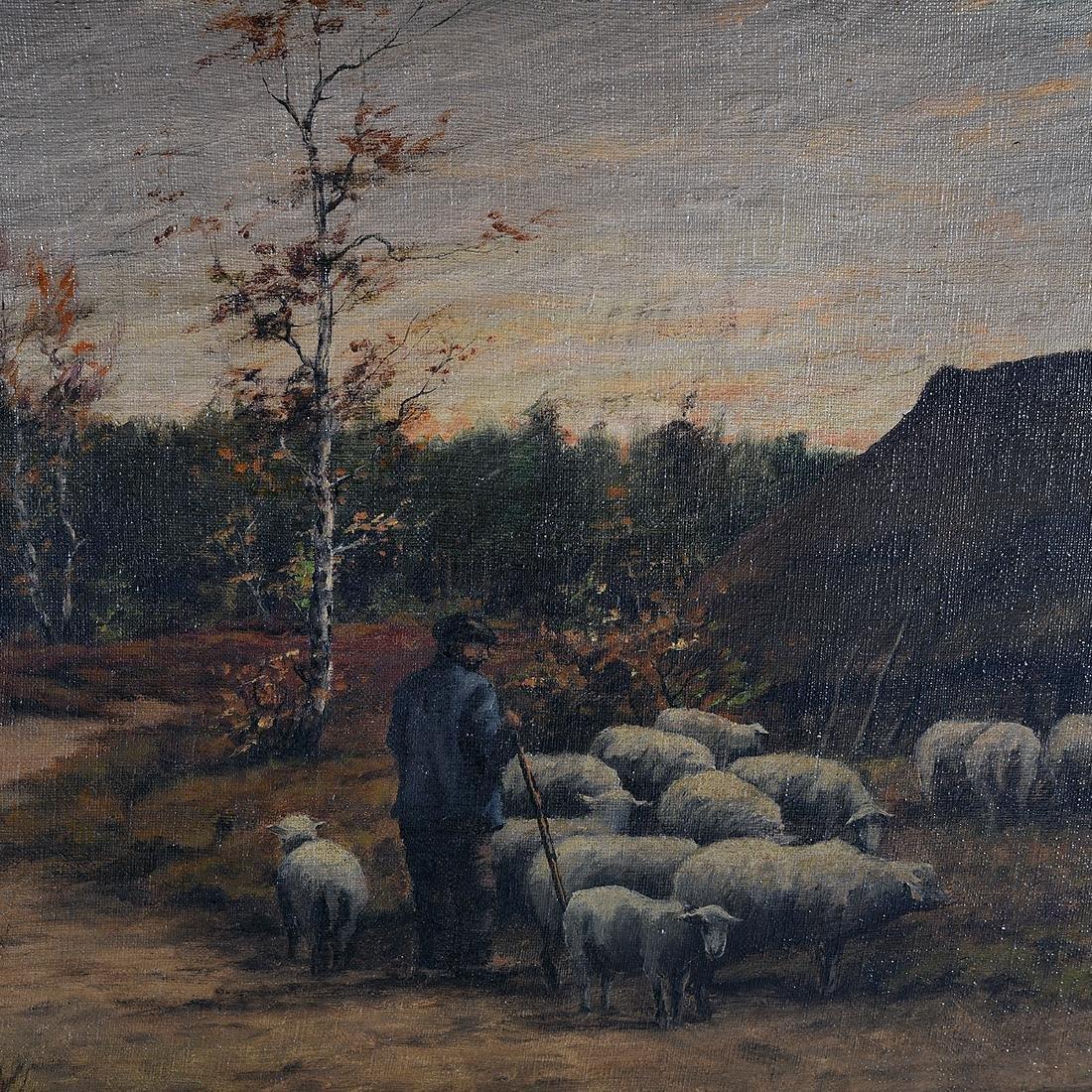 "B. Medema ""Tending the Flock"" oil on canvas - 3"